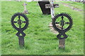 SK9227 : Unusual Iron Grave markers, Ss Andrew & Mary's churchyard by J.Hannan-Briggs