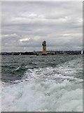 SX4650 : Plymouth harbour breakwater lighthouse by Steve  Fareham
