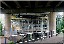 SP0990 : Scaffolding and the River Tame near Gravelly Hill, Birmingham by Roger  Kidd