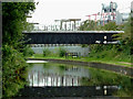 SP0989 : Pipe bridge across the canal near Gravelly Hill, Birmingham by Roger  Kidd