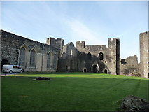 ST1587 : Part of the central courtyard of Caerphilly Castle by Jeremy Bolwell