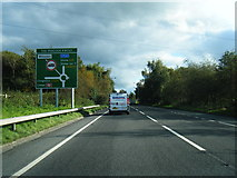 SJ6652 : A51 approaches The Peacock Roundabout by Colin Pyle