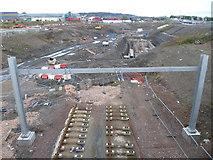 NT1772 : Tramline construction, Gogar Roundabout by kim traynor