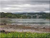 SH5571 : Church Island & the Menai Suspension Bridge by Christine Courtney