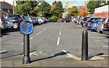 J3674 : Car park cycle lane, Belfast by Albert Bridge