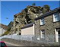 SH7045 : Rocky outcrop, High Street, Blaenau Ffestiniog  by Jaggery