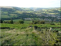SE0125 : Stile and view, Hebden Royd Footpath 62 by Humphrey Bolton