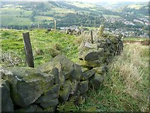 SE0125 : Broken wall and fence on Hebden Royd FP59 by Humphrey Bolton