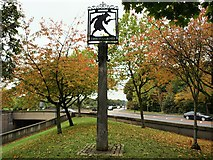 TQ2373 : Tibbet's Corner Sign by tristan forward