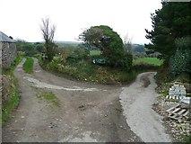 SW4028 : Track junction near Carn Euny by Humphrey Bolton