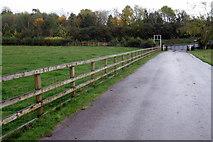 SP7047 : Towcester Racecourse Shutlanger Road entrance by Philip Jeffrey
