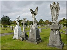 NS5769 : Statues in St Kentigern's R.C. Cemetery by Lairich Rig