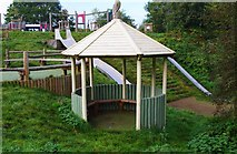 SO8480 : Circular shelter in Natural Play Area, Cookley Playing Fields, Cookley by P L Chadwick