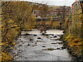 SJ9698 : River Tame, Weir at Stalybridge by David Dixon
