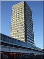 NZ3956 : Tower block over shops, Sunderland by JThomas