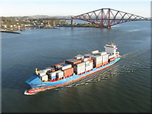 NT1279 : Container ship passing North Queensferry by M J Richardson