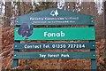NN9356 : Fonab Forest sign by Jim Barton