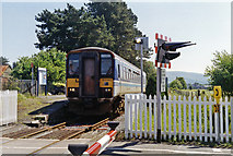 SN6212 : Ammanford station, 1994 with train by Ben Brooksbank