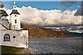 SH5836 : Portmeirion - White Horses and Observatory Tower by Ian Capper