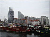TQ3880 : View of flats in New Providence Wharf from Poplar Dock by Robert Lamb