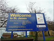 SJ9499 : St James Church, Ashton-Under-Lyne, Nameboard by Alexander P Kapp