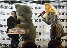 TQ7567 : The Mayor of Medway, Little Charley Bear turn on Chatham Xmas Lights by David Anstiss
