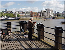 TQ3180 : Fisherman at work - South Bank by Anthony O'Neil