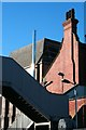 SK5336 : Railway footbridge, Beeston Maltings and The Vic by David Lally