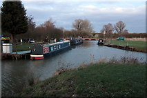 SP7548 : Moorings by the Grand Union Canal by Philip Jeffrey