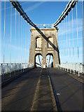 SH5571 : Crossing the Menai Suspension Bridge by Richard Hoare