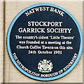 SJ8990 : Stockport Garrick Society plaque by Gerald England