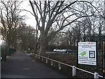 TQ4585 : Access road to Barking Park by David Anstiss
