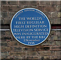 TQ2990 : Commemorative plaque, Alexandra Palace by Julian Osley
