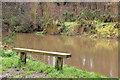 J3268 : Bench, River Lagan, Belfast by Albert Bridge
