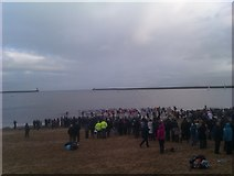 NZ3668 : Boxing Day Swim, Little Haven, South Shields by Les Hull
