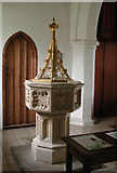 TL4905 : St Andrew, North Weald - Font by John Salmon