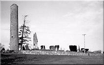 N8869 : Donaghmore church and round tower near Navan by Albert Bridge