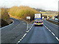 SU4657 : Northbound A34, Exit for Burghclere by David Dixon