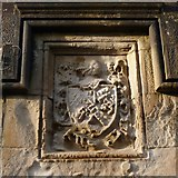NS3882 : South lodge: coat of arms above window by Lairich Rig