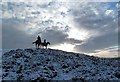 NT5431 : Horse riders at the summit of Eildon Wester Hill by Walter Baxter