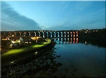 NT9953 : The Royal Border Bridge illuminated by Graham Robson