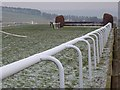 NY9162 : Fence and rails on Hexham racecourse by Oliver Dixon