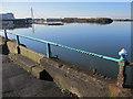 SD3318 : Southport Marine lake and railings by John S Turner