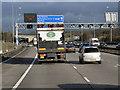 SP1474 : Northbound M42, Overhead Sign Gantry by David Dixon