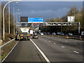 SP1677 : Overhead Signal Gantry, M42 near Solihull by David Dixon