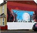 SZ5577 : Wall mural, York Road, Ventnor by nick macneill