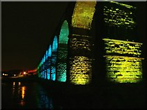 NT9953 : Royal Border Bridge at night by Barbara Carr