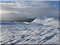 NS8598 : Wind-scoured snow near summit of Myreton Hill by Alan O'Dowd