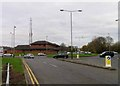 SK5608 : Beaumont Leys police station and roundabout on Bennion Road by Andrew Tatlow