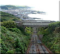SN5882 : Topmost footbridge over Aberystwyth Cliff Railway by Jaggery